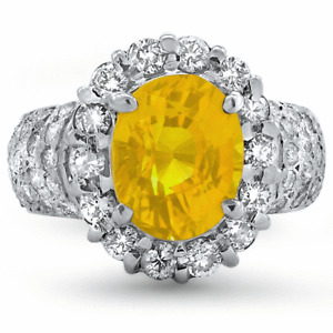 Certified 4.47cttw Yellow sapphire 1.19cttw Diamond 14KT White Gold Ring