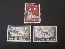 Finland, Scott # 155-157(3), Complete Set 1929 Founding Of Turku Issue Used