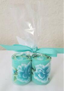 "Pillar Candle Aqua Blue Roses Hand Painted 2"" Set Of 2"