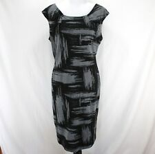 Calvin Klein Sheath Dress Sz 14W Gray Black Sleeveless Polyester Rayon New