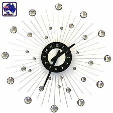 49cm Modern Wall Clock Rhinestone Jeweled Beaded Sunburst Home Decor HCLO28301