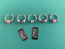 Handmade Accessories for Littlest Pet Shop 5 Necklaces And 2 Phones Mini Set LPS