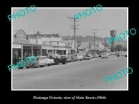 OLD LARGE HISTORIC PHOTO OF WODONGA VICTORIA, VIEW OF THE MAIN STREET c1960