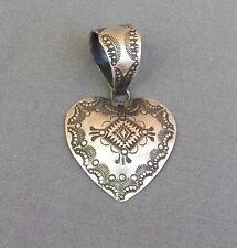 Antiqued Finish Sterling Stamped Heart Pendant by Navajo Vincent Big Bale
