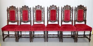 SET OF 6 CARVED CHAIRS WITH LIONS ON THE BACK ARMORIAL CREST/ COAT OF ARMS