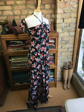 FOREVER 21 Size 10 Long Len Black Rust & Teal Floral Maxi Dress RRP £20