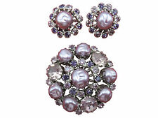 Weiss Vintage Brooch Clip Earrings Set Purple Lavender Rhinestone Silver 686g