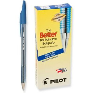 36011 Pilot the Better Ball Point Stick Pen, Fine Point, Blue, Pack of 12