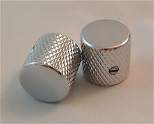 Guitar Parts METAL FLAT TOP KNOBS Knurled Barrel 1/4in Hole - Set of 2 - CHROME