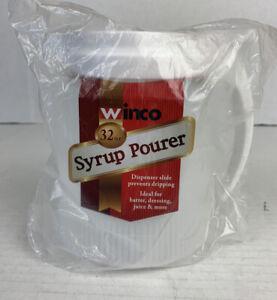 Winco 32 Oz.Commercial Plastic Syrup Dispenser Stainless Steel Slide Lid