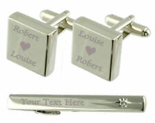 Name Love Heart Engraved Cufflinks Tie Clip Box Set
