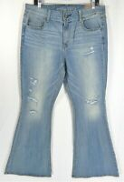 NEW American Eagle Hi Rise Artist Jeans Women 16 S 16S Boho Flare Distressed