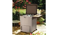 Suncast Cooler Station Portable Rolling Cooler Cart Home Outdoor Ice Chest