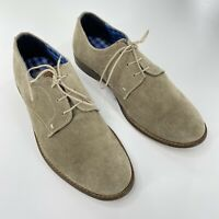 Ben Sherman Sz 7 Mens Suede Oxford Lace Up Wood Sole Beige Leather Dress Shoes