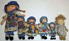 Vintage Holly Hobbie Collectible Cloth Dolls- Lot of 5 & 1 Knickerbocker-1970's