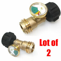 Lot 2 Propane Tank Brass Adapter w/ Pressure Meter Gauge for LP Gas Grill BBQ RV