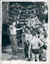 1947 Boys Check Out Truckload of Sleds in Summer in Chicago Press Photo