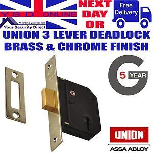 UNION J-ES-DL Essential 3 Lever Mortice Deadlock 65mm & 79mm PB & SC Finish
