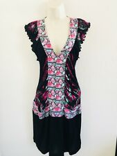 CUSTO BARCELONA SILK BUTTERFLY FLORAL V NECK RUCHED FITTED DRESS SIZE 1