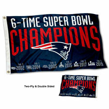 New England Patriots 6 Time Super Bowl Champions Two Sided Flag