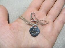 """Auth. Tiffany Co.""""Please Return to Tiffany & Co."""" Heart Tag Pendant Necklace 18"""""""