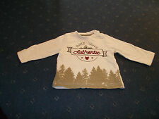 "Boys beige ""Home grown authentic"" long sleeve top 3-6 months by Nutmeg"