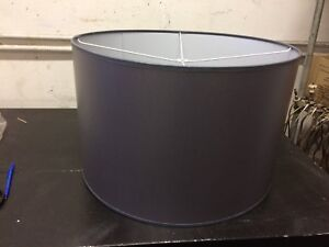 """Large Contemporary Wipeable Drum  Lamp shade 22"""" w x 14"""" ht Dk Gray color"""