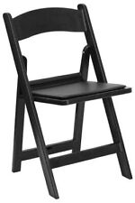 HERCULES Series Black Resin Folding Chair New with Black Vinyl Padded Seat New