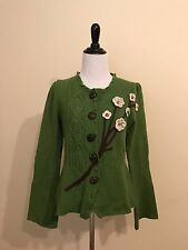 RARE Anthropologie Sleeping on Snow Sz S Wildflower Green Cardigan Sweater
