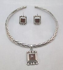 Pendant Necklace & Earrings Mexico * Sterling Silver Braided Choker Rope Amber