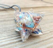 ORGONE 7 CHAKRA MIXED WIRE WRAPPED GEMSTONE MERKABA PENDANT ORGONITE (ONE)