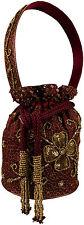 Abendtasche Vintage Beuteltasche Pailletten hand bestickt Bordeaux bucket bag