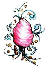Temporary Tattoo, Einmal Tattoo, GLTS-09, rosa Zuckerwatte