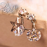 Fashion Charm silver Plated Zircon Crystal Star Shape Earrings Gifts For Women
