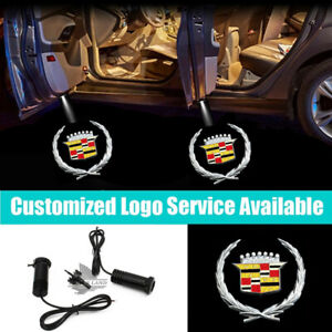 2Pcs Cadillac Logo Car Door Led Welcome Courtesy Laser Projector Shadow Light