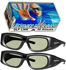 DLP LINK 144 Hz Ultra-Clear HD 2 PACK 3D Active Rechargeable Shutter Glasses for