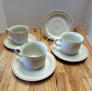 Set of 4 Vintage SWEET FLOWER COLLECTION Japan Stoneware Saucers & 3 Tea Cups