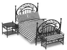 Dolls House Wrought Iron Wire Bedroom Furniture Set with Black & White Bedding