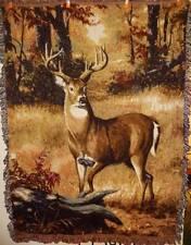 New Deer Buck Reindeer in Woods Gorgeous Tapestry Afghan Throw Blanket