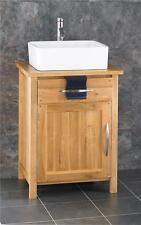 Ohio 60cm SOLID OAK Vanity Cabinet Sink Washbasin Bathroom White Basin and Tap