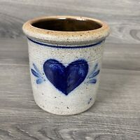 1986 Rowe Pottery Works Cobalt Blue Heart Mini Crock Utensil Holder