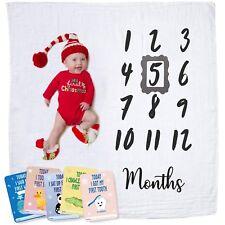 Baby Monthly Milestone Blanket   Newborn Boy & Girl - New Mom Baby Shower Gifts