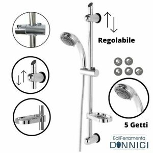 Saliscendi doccia con asta regolabile soffione 5 getti doccetta portasapone set