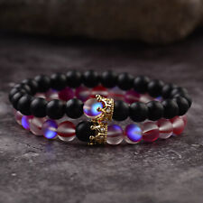 Couples Distance Bracelets Rose Red & Black Moonstone Crown Beads Bracelets 2Pcs
