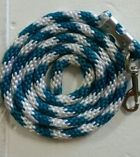 Horse Nylon Lead Rope 70 inches with steel  Swivel Snap - candy cane teal