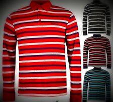 New 2018 Mens Designer Pierre Cardin Stripped Long Sleeve Polo Shirt Size M-4XL