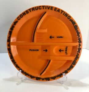 Constructive Eating Childrens Plate Orange Textured Kids Fun Play Toddler Busy