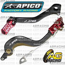 Apico Black Red Rear Brake & Gear Pedal Lever For Honda CR 250 2005 Motocross