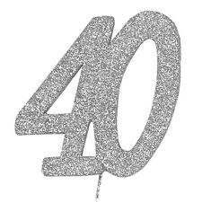 40 Glitter Number on a Pick - 40th Birthday Anniversary Cake Decoration Topper