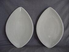 Set of 2 Pfaltzgraff Cappuccino Oval/Leaf Shaped Buffet Plates - USA